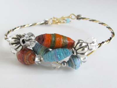 Twisted Wire Bracelet with Paper Beads