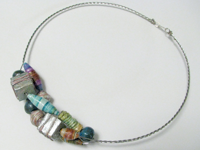 Twisted Wire Necklace with Paper Beads