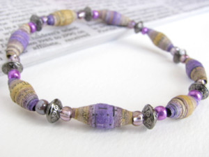 Watercolor Newspaper Bead Bracelet