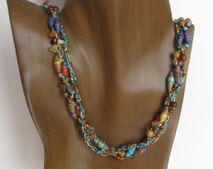 Twisted strand paper bead necklace
