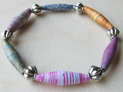 Striped Paper Bead Bracelet