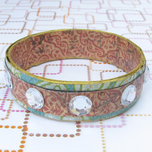 Scrapbook paper and newspaper bracelet